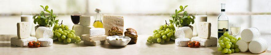 Изображение для стеклянного кухонного фартука, скинали: виноград, сыр, еда, edaprod001