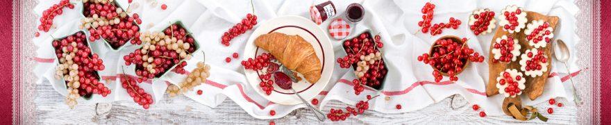 Изображение для стеклянного кухонного фартука, скинали: посуда, ягоды, скатерть, edaprod003