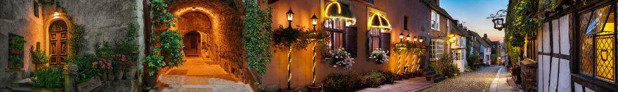 Изображение для стеклянного кухонного фартука, скинали: ночь, город, архитектура, улица, фонари, fartux1000