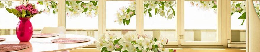 Изображение для стеклянного кухонного фартука, скинали: цветы, ваза, яблоня, окно, fartux1008