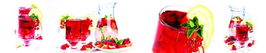 Изображение для стеклянного кухонного фартука, скинали: посуда, напитки, ягоды, стаканы, fartux1013