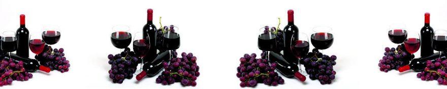 Изображение для стеклянного кухонного фартука, скинали: вино, виноград, бутылка, бокал, fartux1014