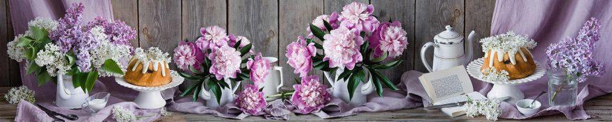 Изображение для стеклянного кухонного фартука, скинали: цветы, посуда, сирень, пионы, fartux1017