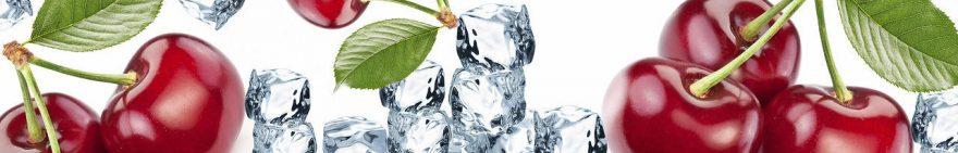 Изображение для стеклянного кухонного фартука, скинали: ягоды, вишня, лед, fartux1018