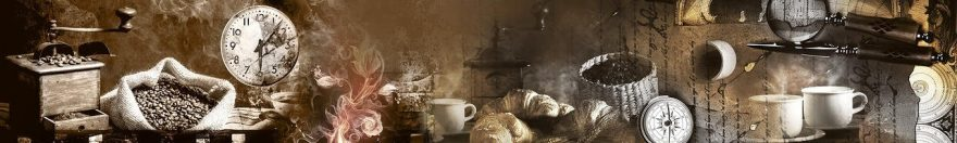 Изображение для стеклянного кухонного фартука, скинали: коллаж, кофе, кружка, компас, часы, fartux1019
