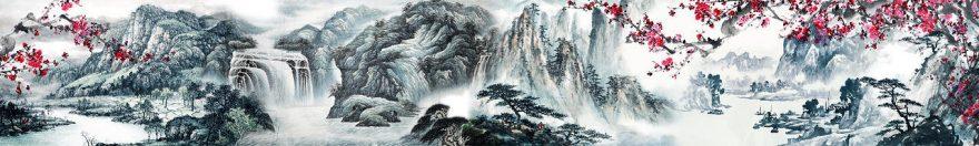 Изображение для стеклянного кухонного фартука, скинали: деревья, горы, сакура, fartux1021