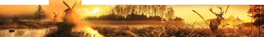 Изображение для стеклянного кухонного фартука, скинали: природа, пшеница, мельница, fartux1023