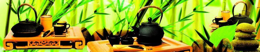 Изображение для стеклянного кухонного фартука, скинали: бамбук, посуда, чай, кружка, чайники, fartux1024