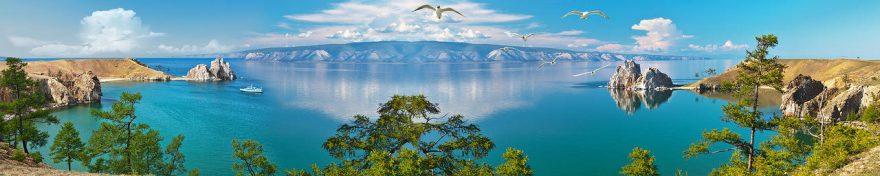 Изображение для стеклянного кухонного фартука, скинали: море, деревья, горы, птицы, fartux1031