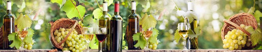 Изображение для стеклянного кухонного фартука, скинали: корзина, вино, виноград, бутылка, бокал, fartux1032