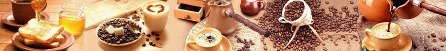 Изображение для стеклянного кухонного фартука, скинали: посуда, кофе, кружка, мед, fartux1033
