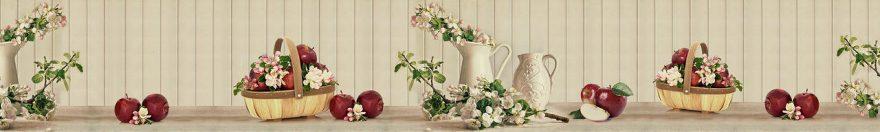 Изображение для стеклянного кухонного фартука, скинали: цветы, ваза, корзина, фрукты, яблоки, fartux1038