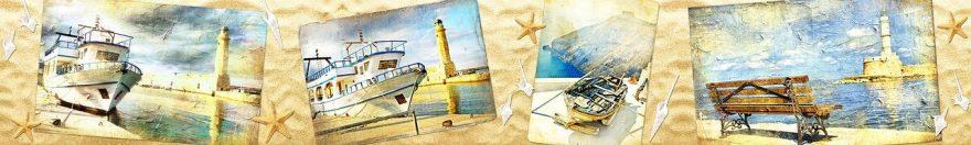 Изображение для стеклянного кухонного фартука, скинали: коллаж, море, корабль, маяк, fartux1040