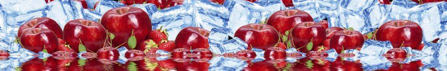 Изображение для стеклянного кухонного фартука, скинали: фрукты, ягоды, лед, яблоки, fartux1043
