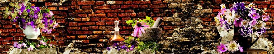 Изображение для стеклянного кухонного фартука, скинали: цветы, ваза, кирпич, fartux1045