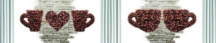 Изображение для стеклянного кухонного фартука, скинали: кофе, кирпич, fartux1046