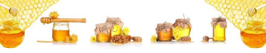 Изображение для стеклянного кухонного фартука, скинали: банки, мед, fartux1048