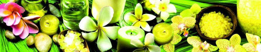 Изображение для стеклянного кухонного фартука, скинали: цветы, камни, спа, свечи, fartux1049