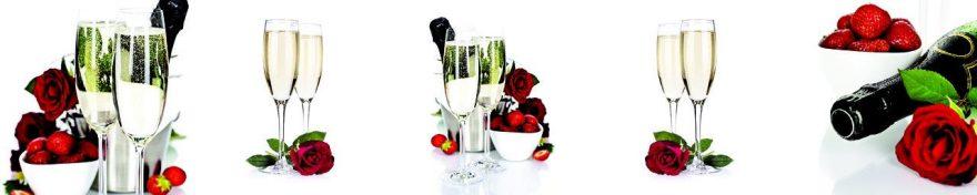 Изображение для стеклянного кухонного фартука, скинали: цветы, розы, напитки, ягоды, клубника, бокал, fartux1054