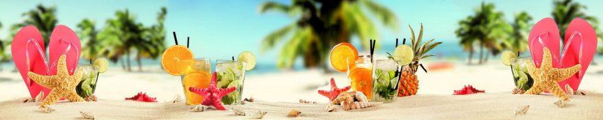 Изображение для стеклянного кухонного фартука, скинали: фрукты, напитки, пальмы, стаканы, песок, fartux1055