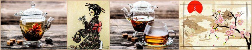 Изображение для стеклянного кухонного фартука, скинали: цветы, чай, коллаж, кружка, сакура, чайники, fartux1056