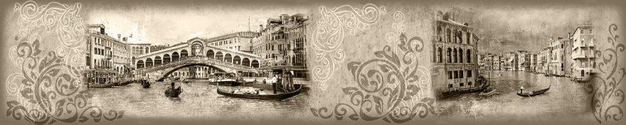 Изображение для стеклянного кухонного фартука, скинали: коллаж, город, архитектура, лодки, винтаж, fartux1065