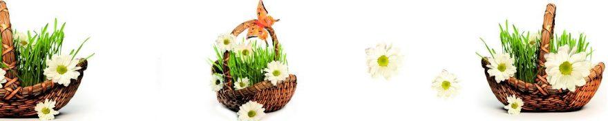 Изображение для стеклянного кухонного фартука, скинали: цветы, корзина, ромашки, fartux1070