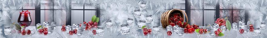 Изображение для стеклянного кухонного фартука, скинали: ягоды, вишня, лед, бокал, окно, fartux1073
