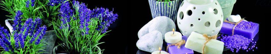 Изображение для стеклянного кухонного фартука, скинали: цветы, ваза, свечи, лаванда, fartux1074