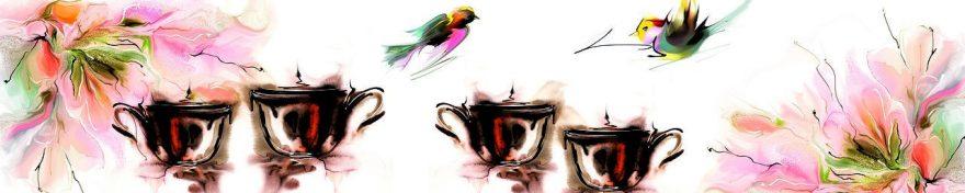 Изображение для стеклянного кухонного фартука, скинали: кружка, птицы, fartux1086
