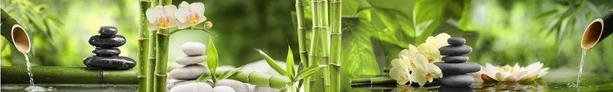 Изображение для стеклянного кухонного фартука, скинали: цветы, бамбук, орхидеи, камни, спа, fartux1088