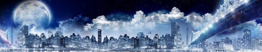 Изображение для стеклянного кухонного фартука, скинали: небо, ночь, город, мост, небоскребы, fartux1091