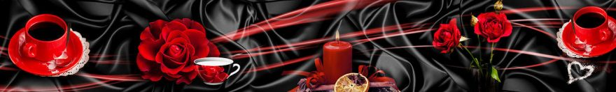 Изображение для стеклянного кухонного фартука, скинали: цветы, розы, свечи, кружка, fartux1092