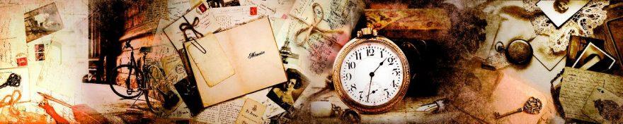 Изображение для стеклянного кухонного фартука, скинали: коллаж, письмо, часы, винтаж, fartux1103
