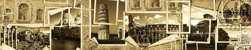 Изображение для стеклянного кухонного фартука, скинали: коллаж, башня, винтаж, fartux1105