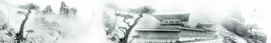 Изображение для стеклянного кухонного фартука, скинали: деревья, дом, fartux1107