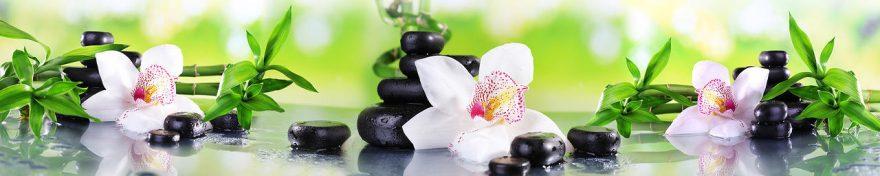Изображение для стеклянного кухонного фартука, скинали: цветы, бамбук, орхидеи, камни, спа, fartux1108