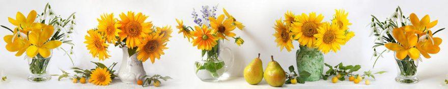 Изображение для стеклянного кухонного фартука, скинали: цветы, ваза, fartux1113