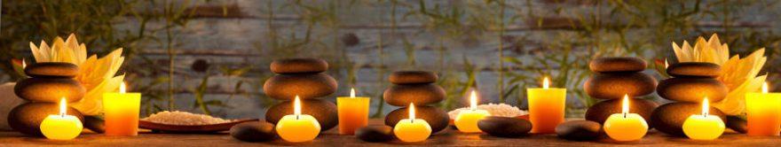 Изображение для стеклянного кухонного фартука, скинали: камни, спа, свечи, fartux1119