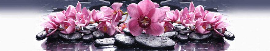 Изображение для стеклянного кухонного фартука, скинали: цветы, орхидеи, камни, спа, fartux1120