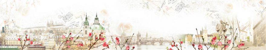 Изображение для стеклянного кухонного фартука, скинали: коллаж, город, письмо, винтаж, fartux1126