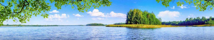 Изображение для стеклянного кухонного фартука, скинали: природа, деревья, озеро, fartux1166