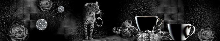 Изображение для стеклянного кухонного фартука, скинали: коллаж, кружка, леопард, fartux1170