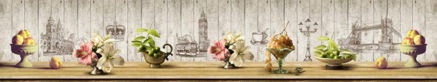 Изображение для стеклянного кухонного фартука, скинали: цветы, ваза, фрукты, винтаж, fartux1178