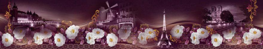 Изображение для стеклянного кухонного фартука, скинали: цветы, коллаж, башня, fartux1180