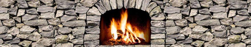 Изображение для стеклянного кухонного фартука, скинали: камни, огонь, fartux1192