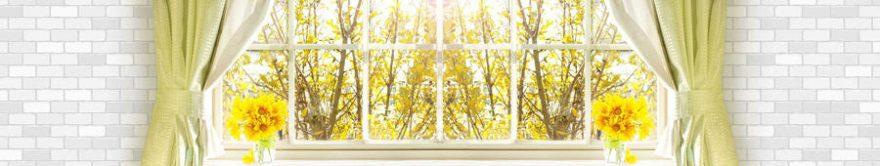 Изображение для стеклянного кухонного фартука, скинали: цветы, деревья, осень, окно, fartux1196