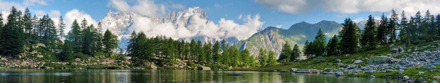 Изображение для стеклянного кухонного фартука, скинали: природа, лес, горы, озеро, fartux1199