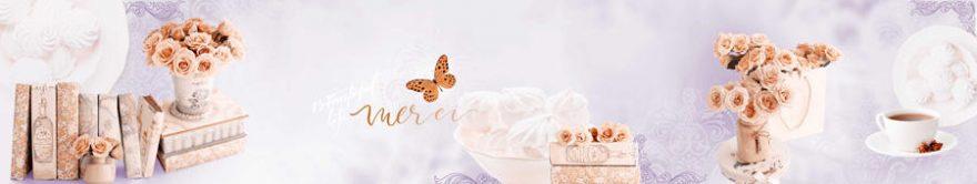 Изображение для стеклянного кухонного фартука, скинали: цветы, розы, кружка, книга, fartux1200