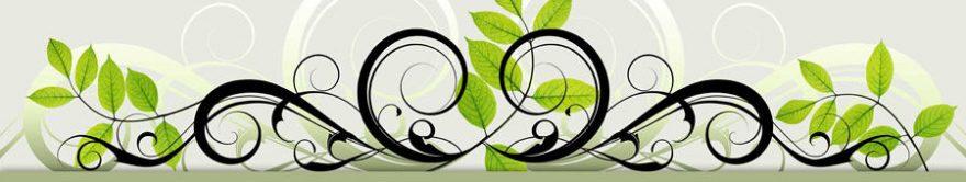 Изображение для стеклянного кухонного фартука, скинали: листья, орнамент, fartux1205